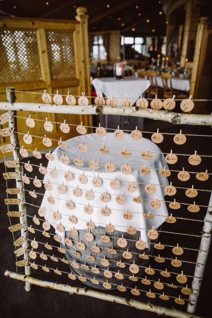 Tischplan aus Birkenstämmen